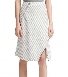 White Striped Fringe Pencil Skirt