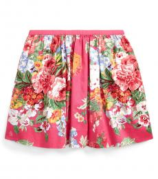 Ralph Lauren Little Girls Pink Floral Sateen Skirt