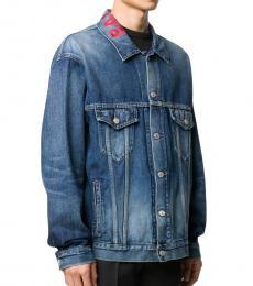 Balenciaga Blue Logo-Collar Denim Jacket