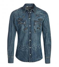 Dolce & Gabbana Blue Logo Denim Shirt