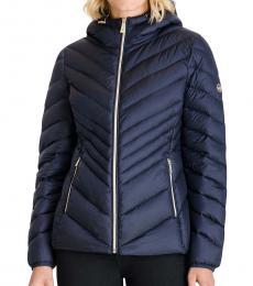 Michael Kors Dark Navy Hooded Packabl Puffer Jacket