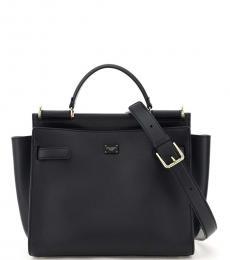 Dolce & Gabbana Black Sicily Soft Medium Satchel