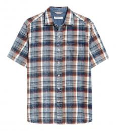 Blue Seaspray Plaid Short Sleeve Shirt