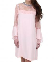 Juicy Couture Soft Pink Lace Long Sleeves Dress