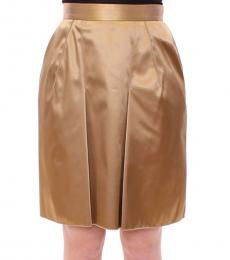 Dolce & Gabbana Gold Stretch Zipper Skirt