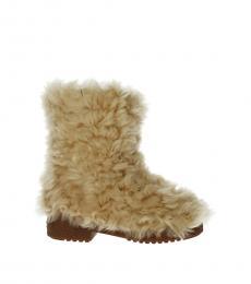 Saint Laurent Beige Fur Boots