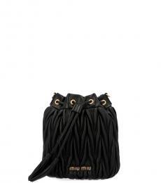 Black Pleated Mini Bucket Bag