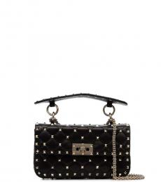 Black Rockstud Spike Small Shoulder Bag
