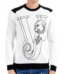 White Designed Crewneck Sweater