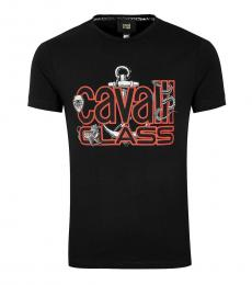 Cavalli Class Black Stretch Callisto Logo T-Shirt
