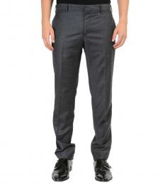 Grey Flat Front Wool Dress Pants