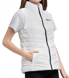 DKNY White Puffer Vest