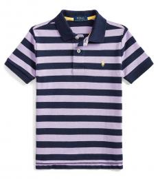 Little Boys English Lavender Striped Polo
