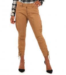 Brown Stretch Cotton Pants