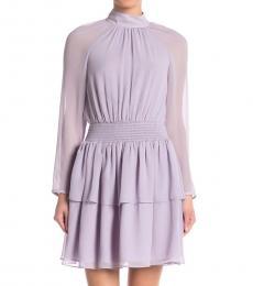 Light Purple Smocked Ruffled Mini Dress