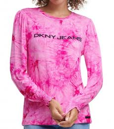 DKNY Cordial-Tie-Dye Logo Long Sleeve T-Shirt