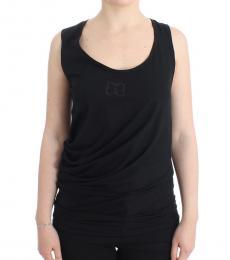 Cavalli Class Black Logo Cotton Tank Top