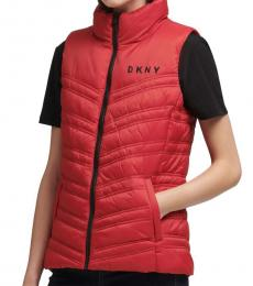 DKNY Red Puffer Vest