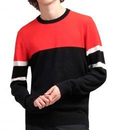 Red Colorblock Merino Sweater
