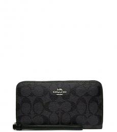 Coach Smoke Black Siganture Phone Wallet