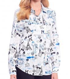 Karl Lagerfeld White Whimsical Blouse