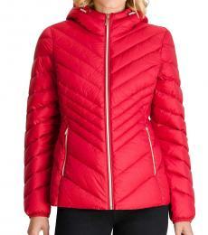 Michael Kors Crimson Hooded Packabl Puffer Jacket