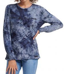DKNY Anthracite-Tie-Dye Logo Long Sleeve T-Shirt