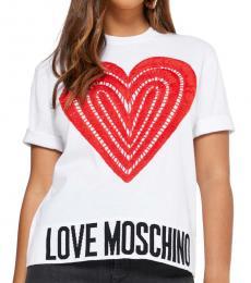 Love Moschino White Logo Detail Top