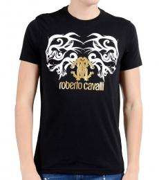Roberto Cavalli Black Gold Graphic Logo T-Shirt