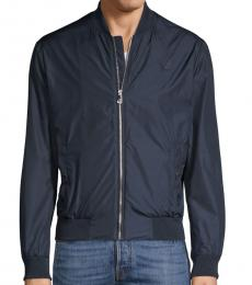 Versace Collection Navy Logo Bomber Jacket
