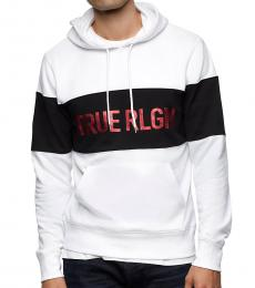 White Colorblock Logo Hoodie