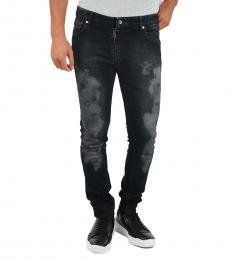 Black Stretch Denim Printed Jeans