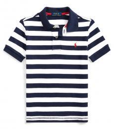 Little Boys White Striped Polo