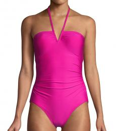 Calvin Klein Dark Pink Stretch One Piece Swimsuit