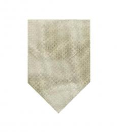 Beige Well Tailored Plaid Print Silk Tie