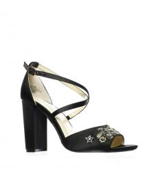 Black Finly Peep Toe Heels