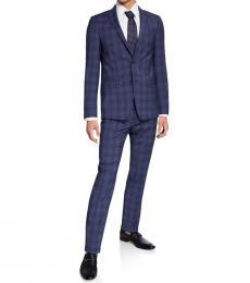 Blue Slim-Fit Mini Check Two-Piece Suit