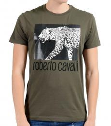 Green Graphic Leopard Crewneck T-Shirt