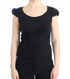 Cavalli Class Black Solid Logo Cotton Top