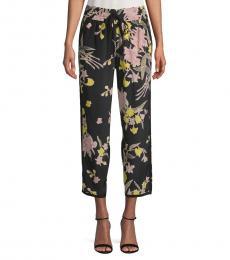 Black Printed Silk Pants