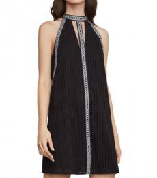 BCBGMaxazria Black Striped Eyelet Halter Dress