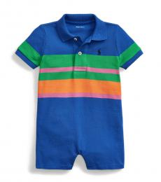 Ralph Lauren Baby Boys Travel Blue Striped Shortall