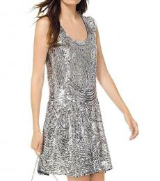 Michael Kors Silver Sequined Slip Mini Party Dress