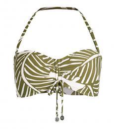 DKNY Olive Tropical-Print Bikini Top