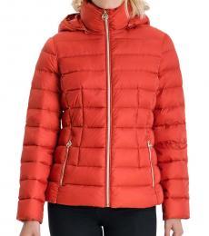 Michael Kors Bright Terracotta Packable Down Puffer Jacket