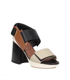 Beige Velcro Closure Heels