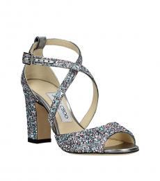 Jimmy Choo Silver Multi Carrie Glitter Heels