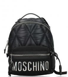Black/Silver Quilted Small Backpack