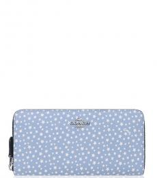 Coach Blue Dusty Star Accordion Zip Wallet