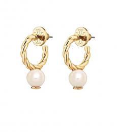 Tory Burch Gold Rope Logo Bead Hoop Earrings